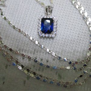 Emerald Cut Royal Blue DiamondAura® Necklace 28""
